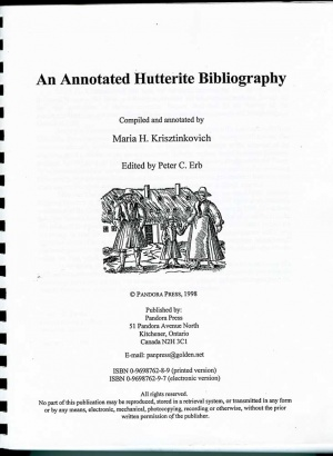 Annotated Hutterite Bibliography, An (Monograph) - GAMEO