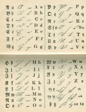 Fraktur typeface and handwriting gameo example of gothic and latin type from fibel used in german elementary schools thecheapjerseys Gallery